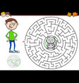 cartoon maze game with boy and kitten vector image vector image