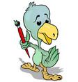 colorful bird holding paintbrush vector image