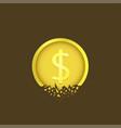 cracked dollar coin vector image