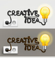 creative lamp with cable outlet vector image vector image