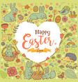 cute easter festive frame in form heart vector image vector image
