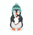 cute penguin with baby penguin vector image vector image