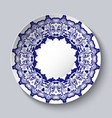 decorative ceramic plate with a blue floral vector image vector image