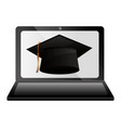 elearning laptop with hat graduation