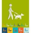 Flat design walking the dog vector image