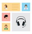 flat icon telemarketing set of earphone operator vector image vector image