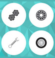 flat service set of belt tire brake disk and vector image vector image