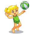 girl playing beach volley ball vector image vector image