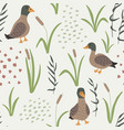 hand drawn seamless pattern with ducks and grass vector image