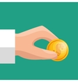 hand hold coin save money icon vector image