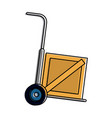 hand truck carrying wooden box shipping delive vector image vector image