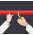 Hand with golden scissors cut the red ribbon vector image vector image