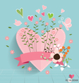 Heart paper with floral bouquets and ribbon vector image vector image