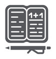 homework glyph icon paper and school notebook vector image vector image