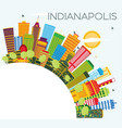 indianapolis skyline with color buildings blue vector image vector image