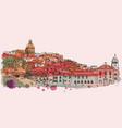 lisbon cityscape skyline watercolor vector image vector image