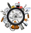 motorcycle parts concept with wheel vector image