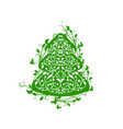 ornate fir tree vector image vector image