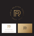 p and r linear monogram logo public relations vector image vector image
