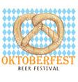 pretzel hand drawing oktoberfest design vector image