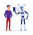 robot uses face lock on a smartphone vector image