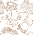 Seamless pattern of female clothing and leather vector image