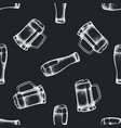 seamless pattern with hand drawn chalk mug beer vector image