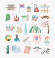 set 25 doodle flat sights vector image vector image