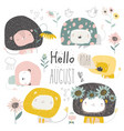 set cute lions and flowers hello august vector image vector image