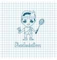 sketch Girl Badminton player vector image