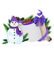 snowman with purple hat and scarf vector image vector image