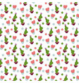 thorny love cactus and heart green and pink vector image