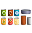 tin can icon set cartoon style vector image