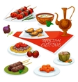 Turkish cuisine meat and vegetable dishes icon vector image vector image