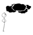 unhappy man looking at dark storm clouds weather vector image