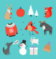 winter collection warm sweater hat cute animals vector image