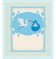 Baby Boy Card - A stork delivering a cute baby boy vector image