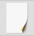 white realistic paper page with golden corner vector image
