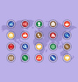 a set of icons on colored buttons part one vector image