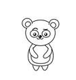 beautiful line cute animals with expression face vector image vector image