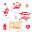 bedroom furniture for newborn girl on white vector image vector image