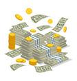 big money stack in cartoon style vector image