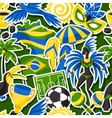 brazil seamless pattern with sticker objects vector image