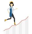 Business woman walking upstairs vector image vector image