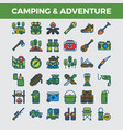 camping and outdoor adventure filled outline icons vector image vector image