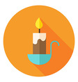 Candle Circle Icon with long Shadow vector image vector image