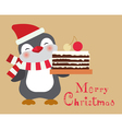christmas penguin with cake card vector image vector image