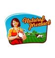 cow milk logo milkmaid farmer or farm vector image vector image