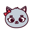 cute animal cat face bow cartoon on white vector image
