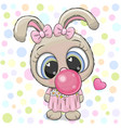 cute cartoon rabbit with bubble gum vector image vector image
